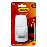 Hook With Command Adhesive White Large