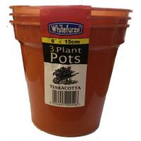 "Plastic Flower Pot Terracotta 6"" 3PC"
