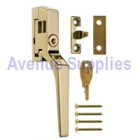 Casement Window Fastener Handle Lockable Polished Brass