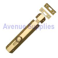 Flat Door Bolt Polished Brass 150mm